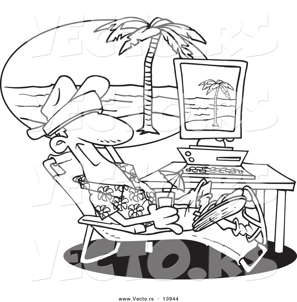 Vector Of A Cartoon Man Taking A Virtual Vacation In His