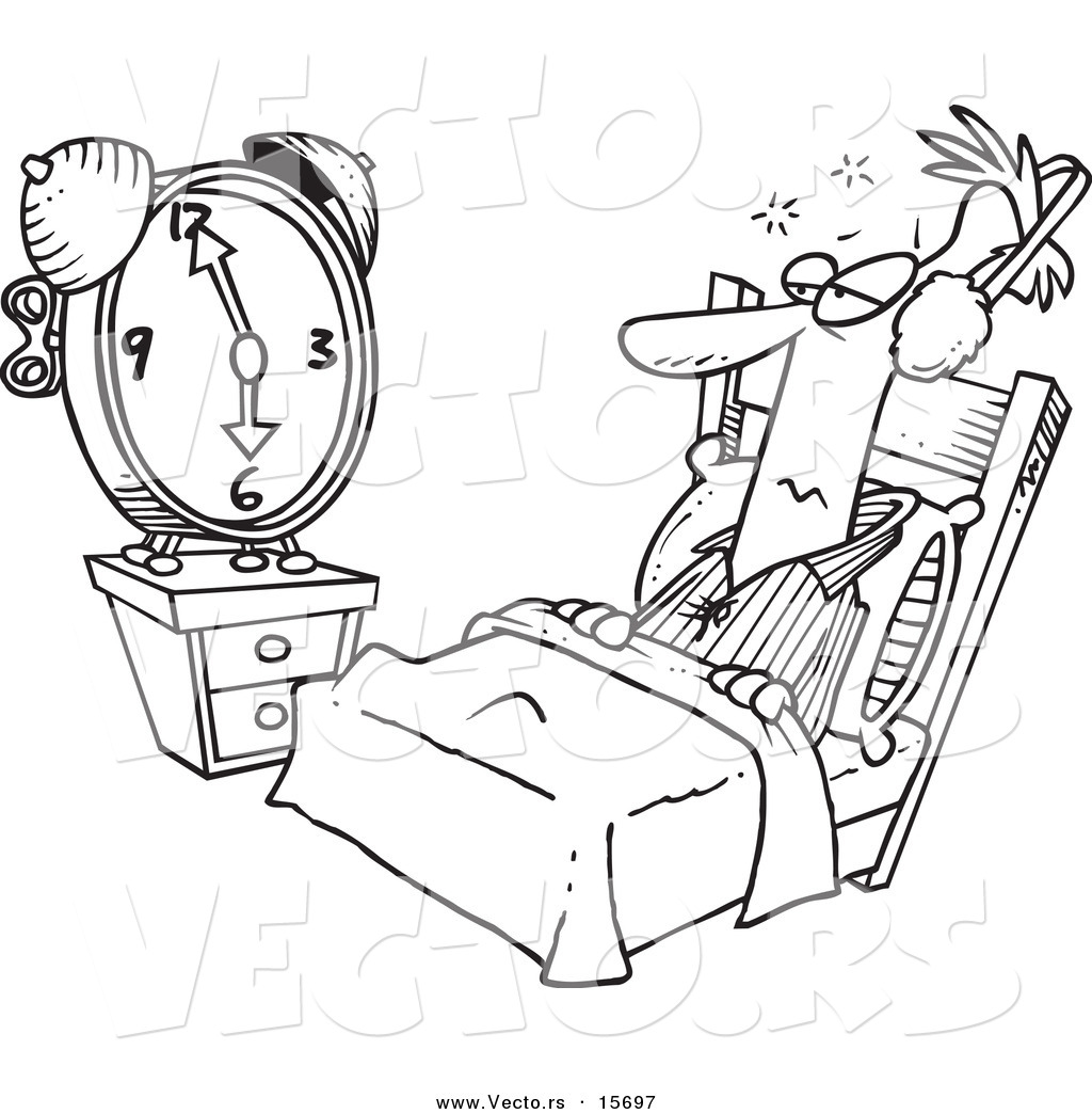 Vector Of A Cartoon Man Tuning Out An Alarm Clock With Ear