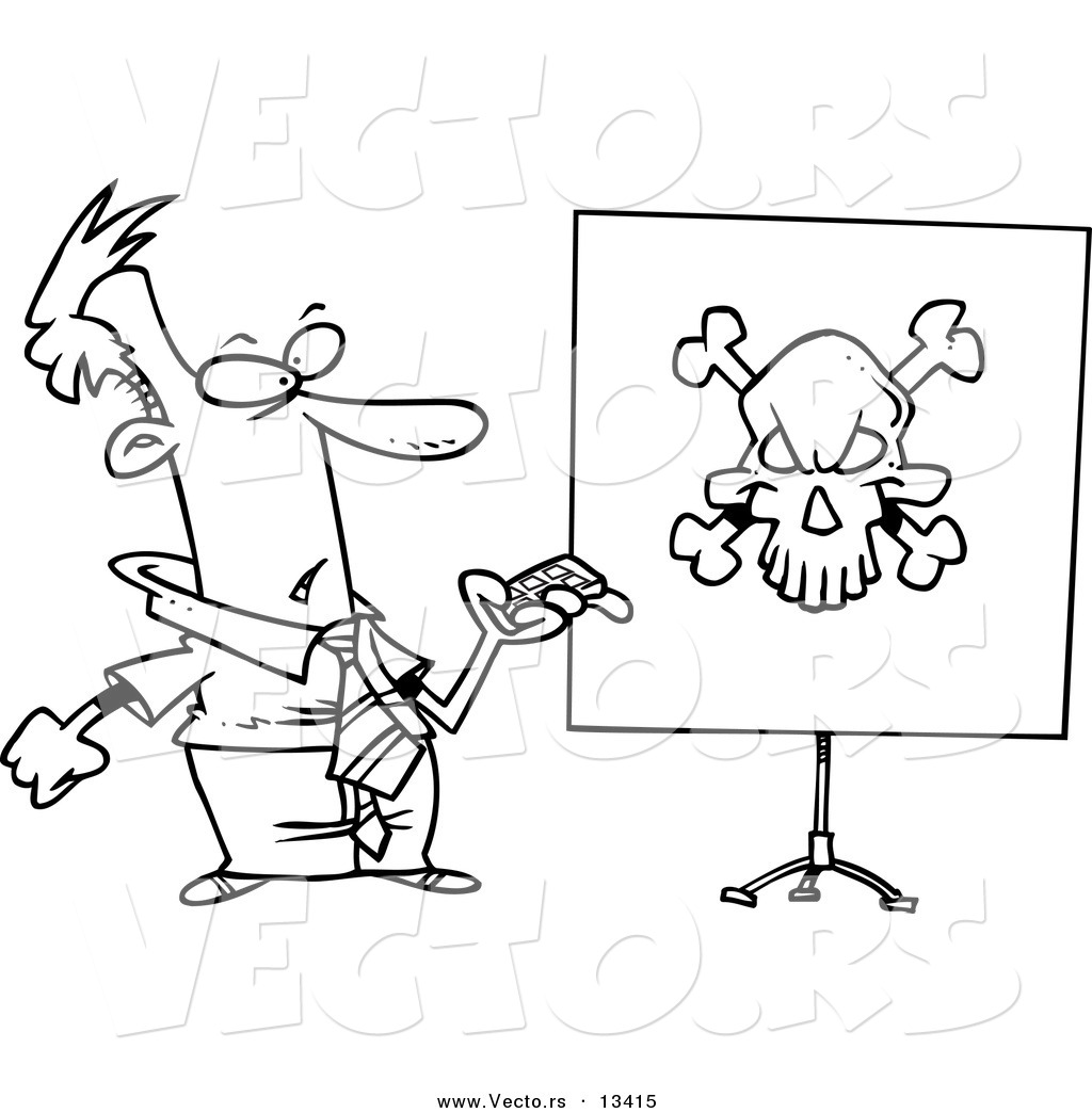 Vector of a Cartoon Man Turning a Projector on and Seeing