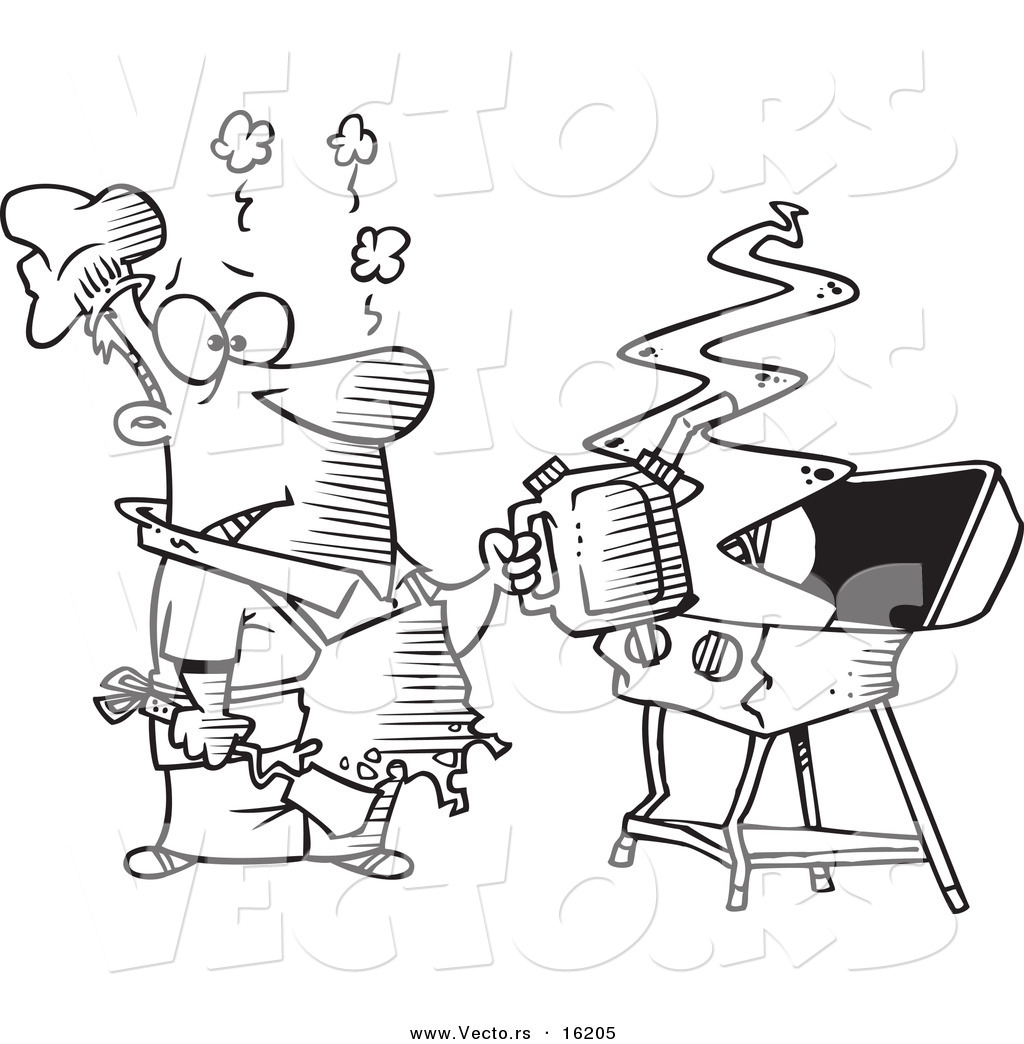Vector of a Cartoon Man Using a Gas Can to Ignite His Bbq
