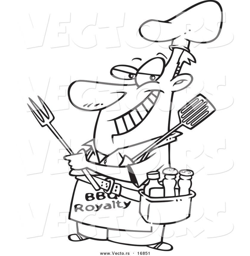vector of a cartoon man wearing a bbq royalty apron