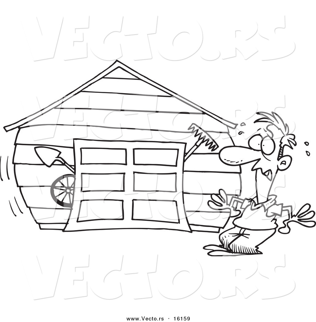 Vector of a Cartoon Man with an Overflowing Garage