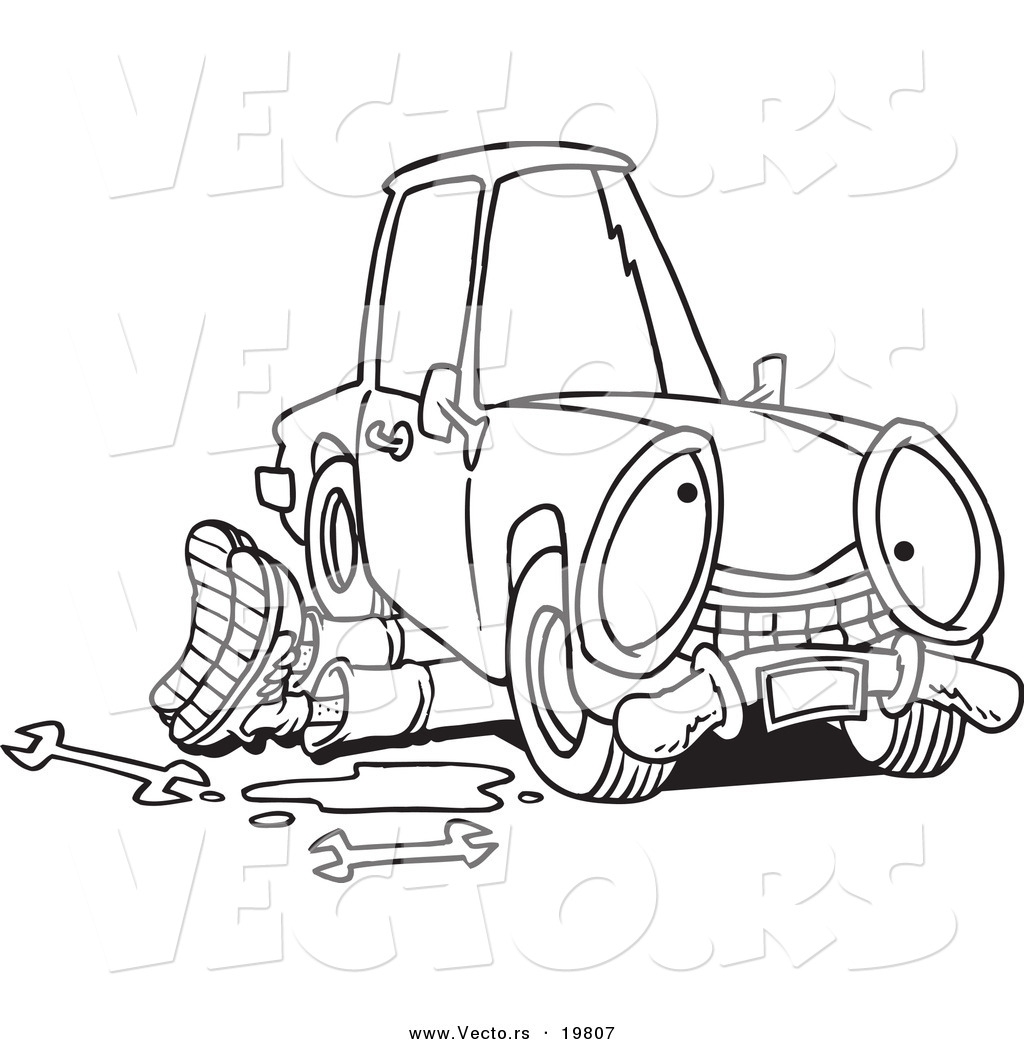 Vector of a Cartoon Mechanic Working Under a Car