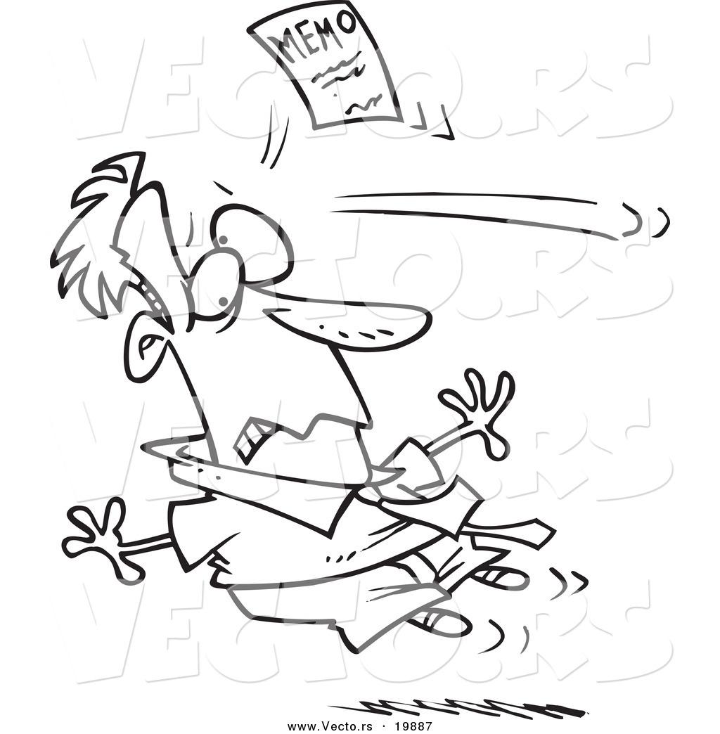 Vector of a Cartoon Memo Knocking out a Businessman