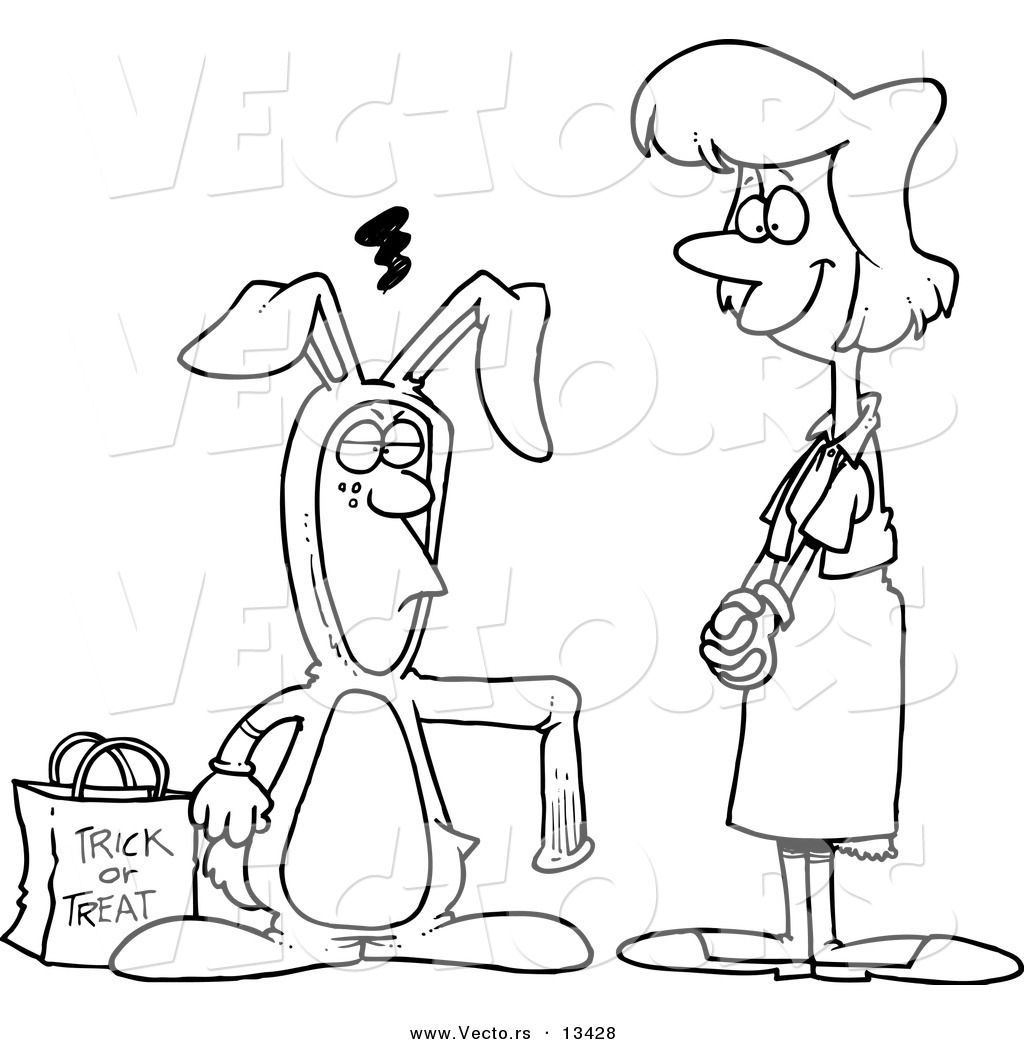 Vector of a Cartoon Mother Admiring Her Son in a Rabbit