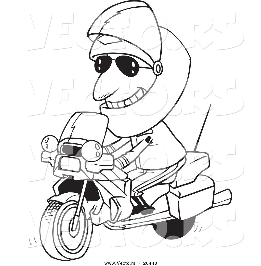 Vector Of A Cartoon Motorcycle Cop