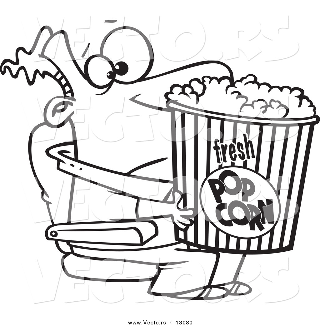 Vector of a Cartoon Movie Man Holding a Big Bucket of