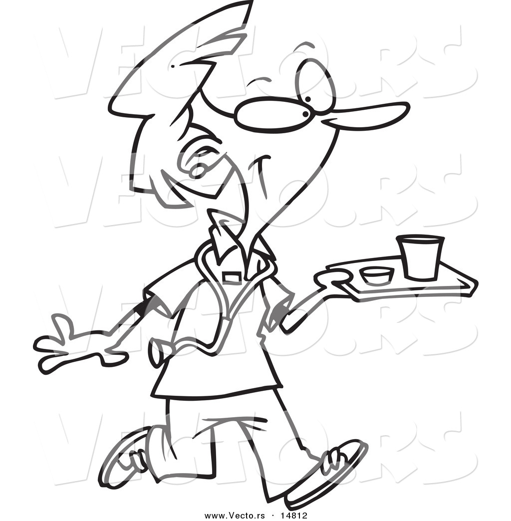 Vector of a Cartoon Nurse Carrying a Tray of Cafeteria
