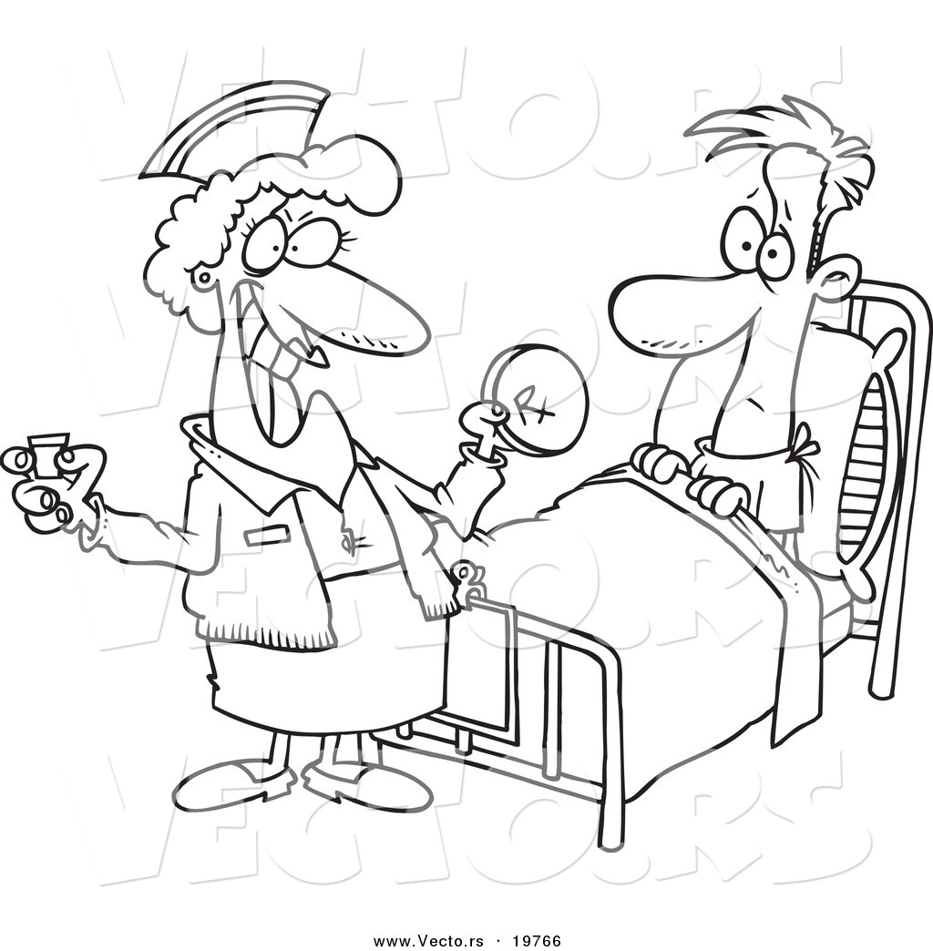 Vector of a Cartoon Nurse Giving a Patient Medication