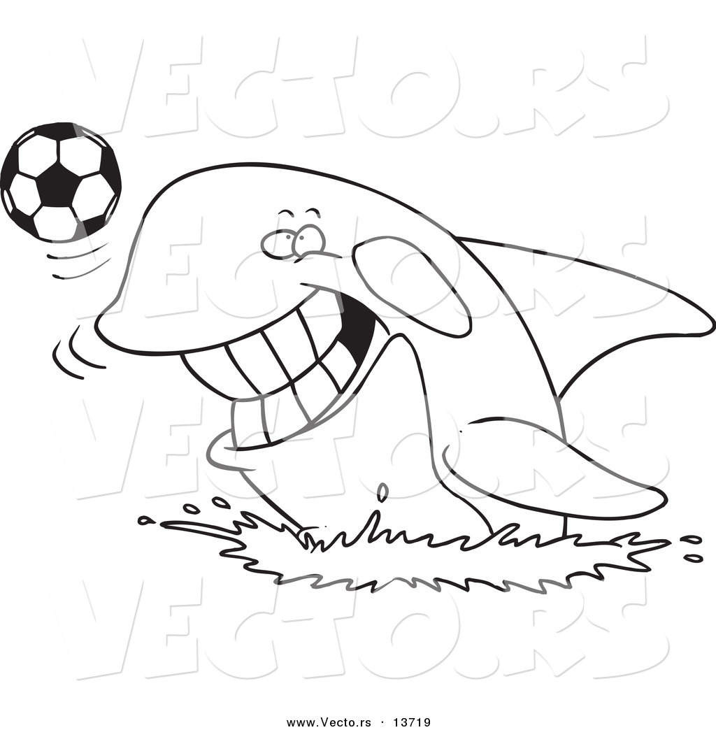 Vector Of A Cartoon Orca Playing With A Soccer Ball