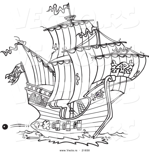 pirate ship coloring pages # 21