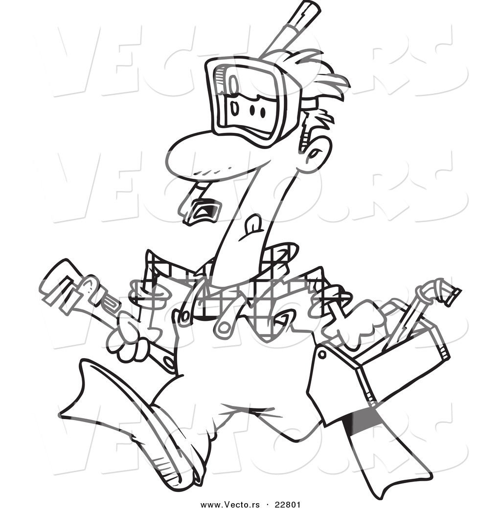 Vector Of A Cartoon Plumber Wearing Goggles And Fins
