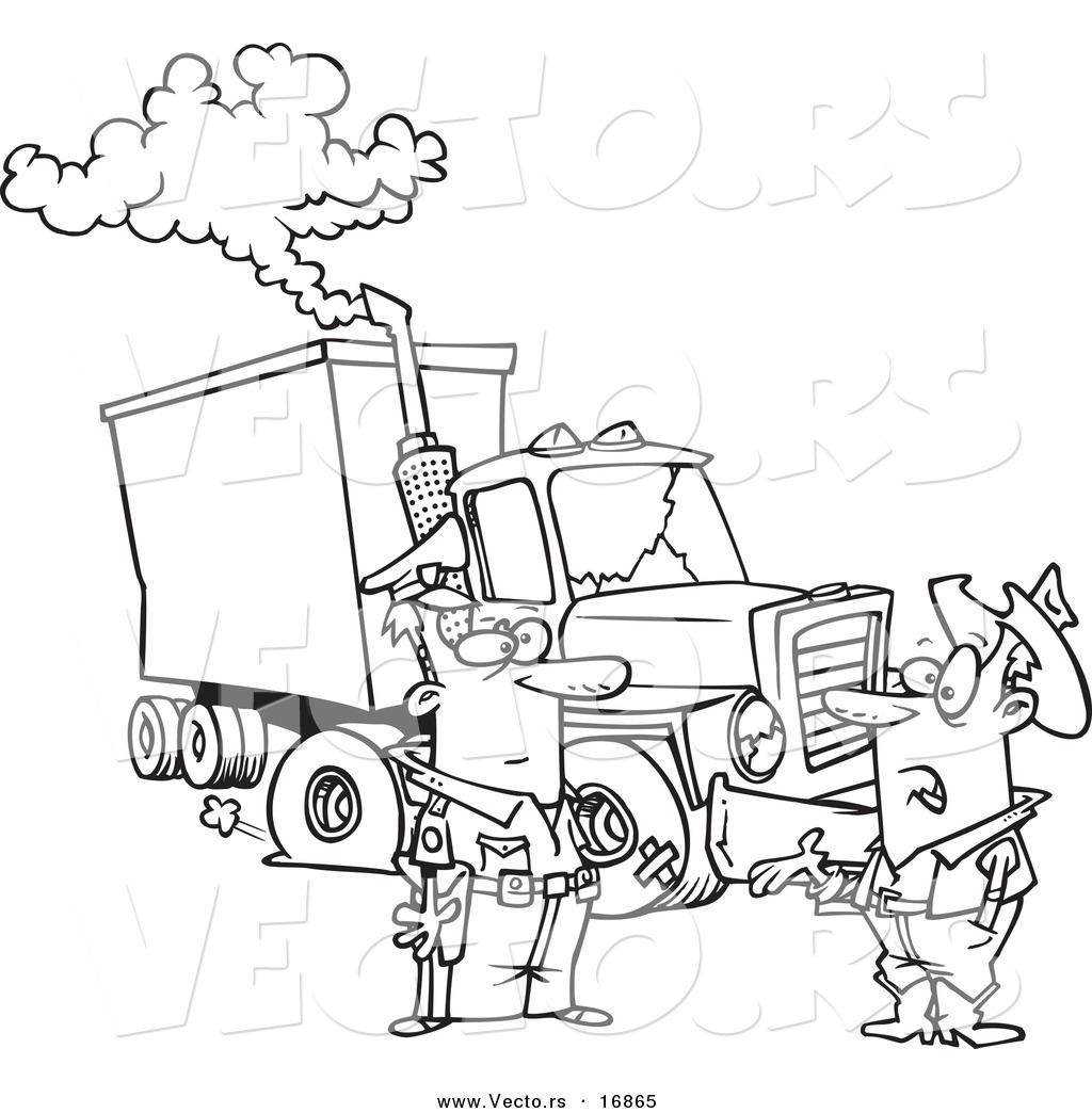 Vector of a Cartoon Police Man Assisting a Trucker with a