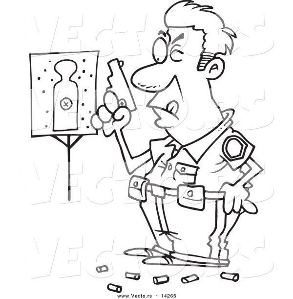 Vector of a Cartoon Police Officer in Training Shooting