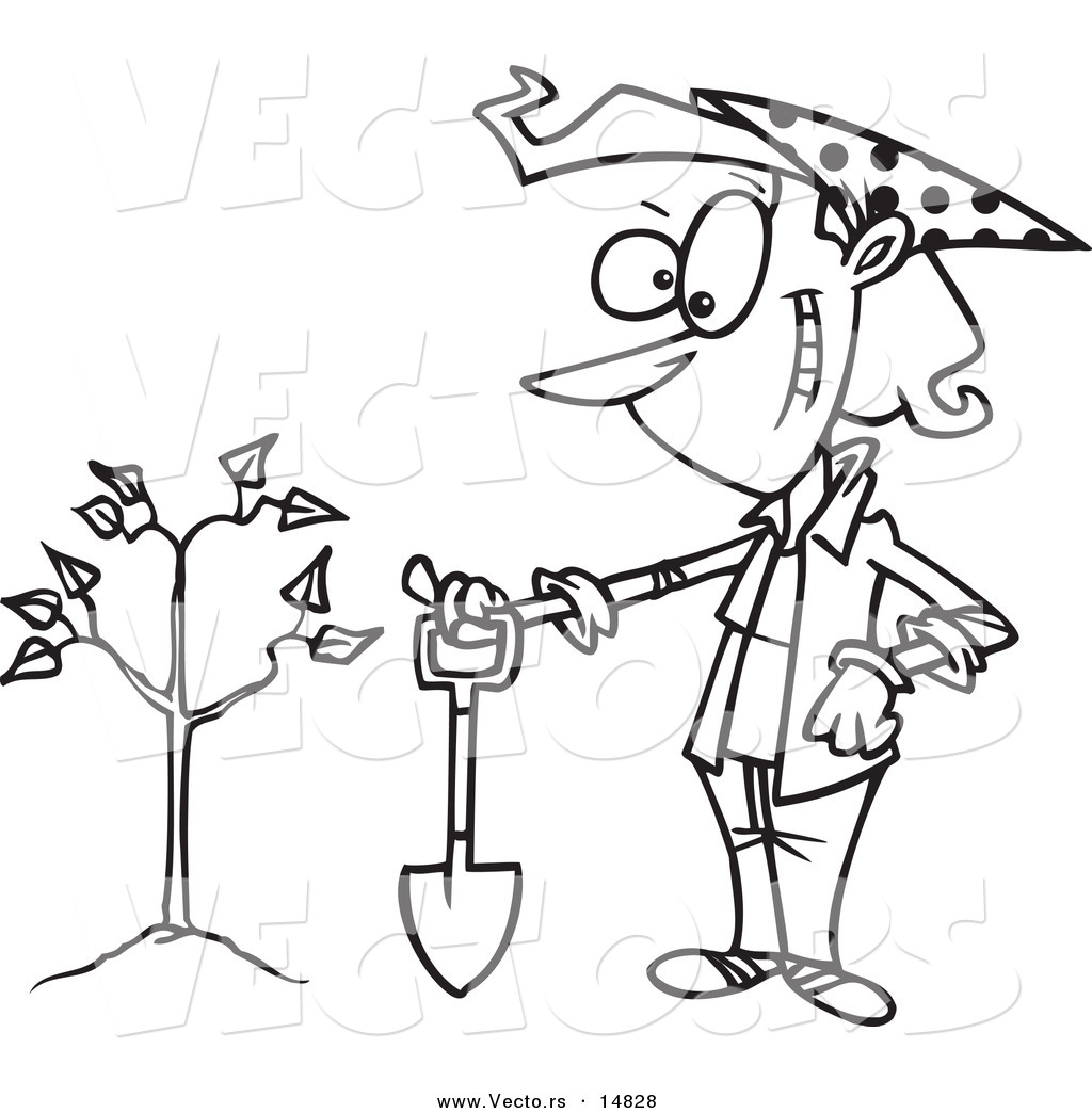 Vector Of A Cartoon Proud Woman With A Shovel By A Newly