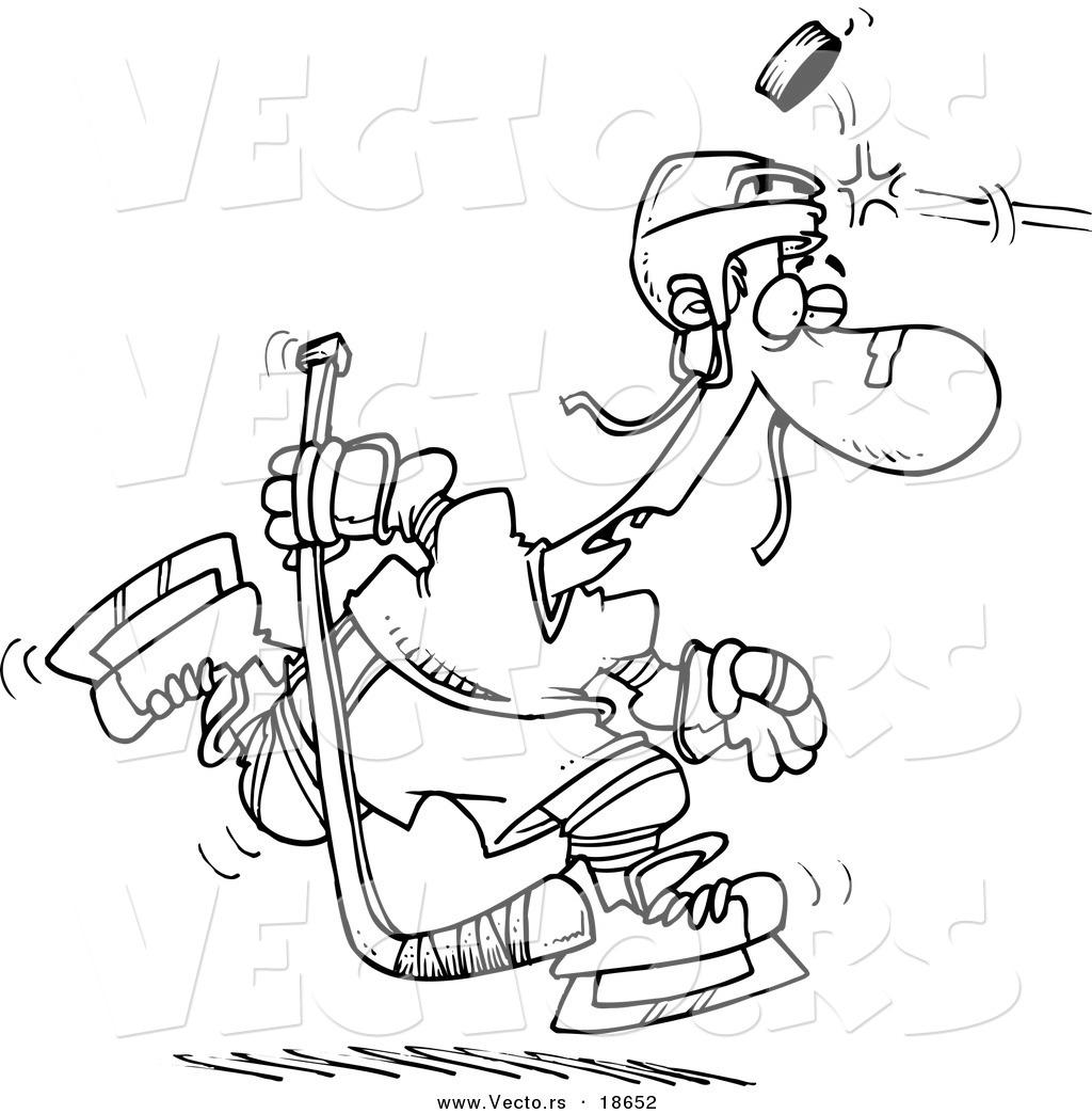 Vector of a Cartoon Puck Hitting a Hockey Player