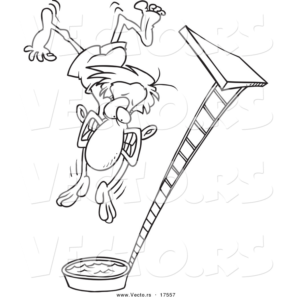 Vector of a Cartoon Regretful Man Falling from a High Dive