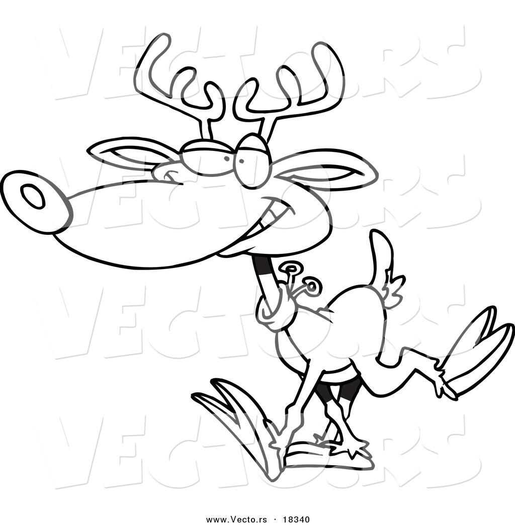Vector Of A Cartoon Reindeer Walking