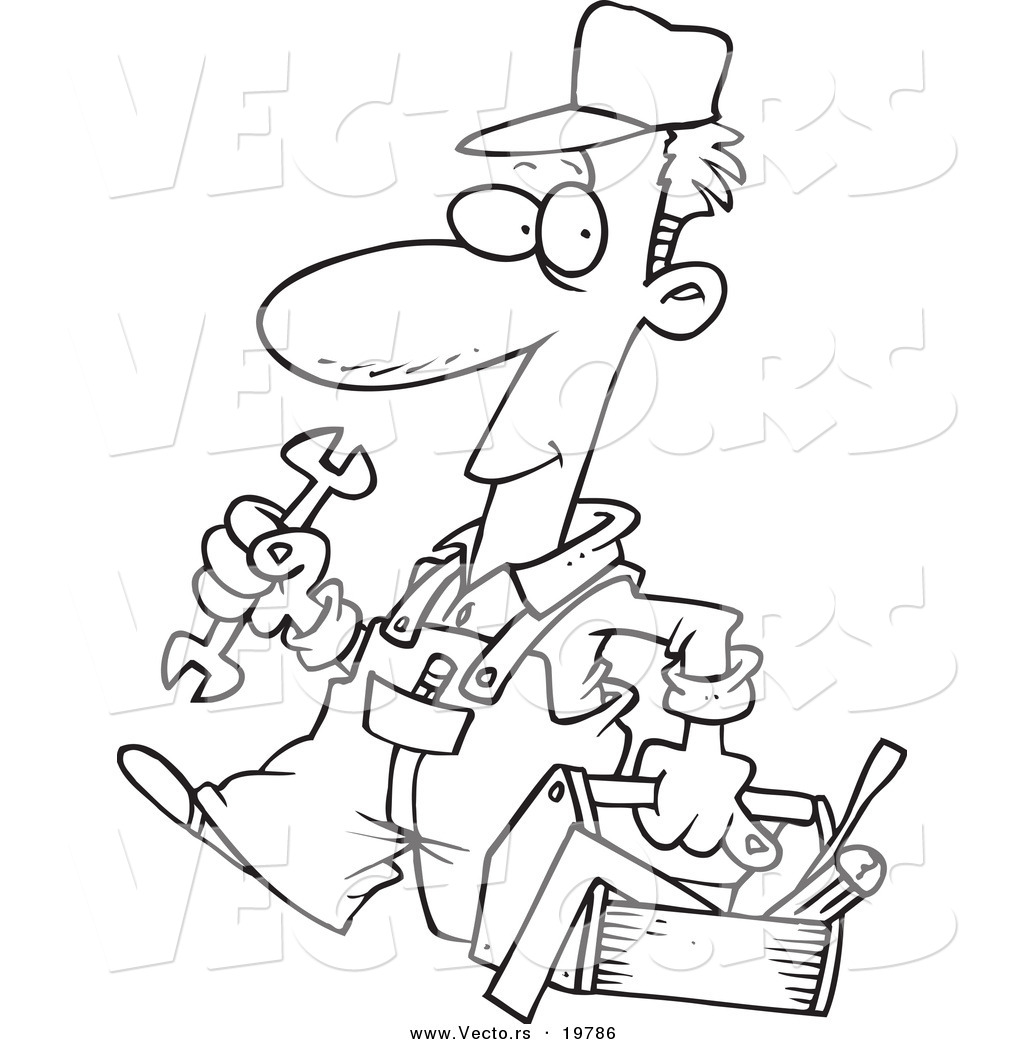 Vector of a Cartoon Repair Man Carrying a Tool Box