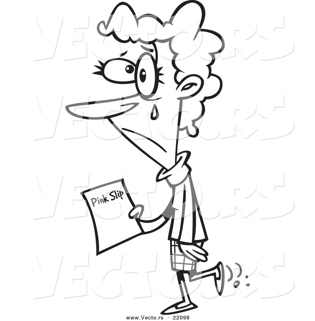 Vector of a Cartoon Sad Businesswoman Holding a Pink Slip