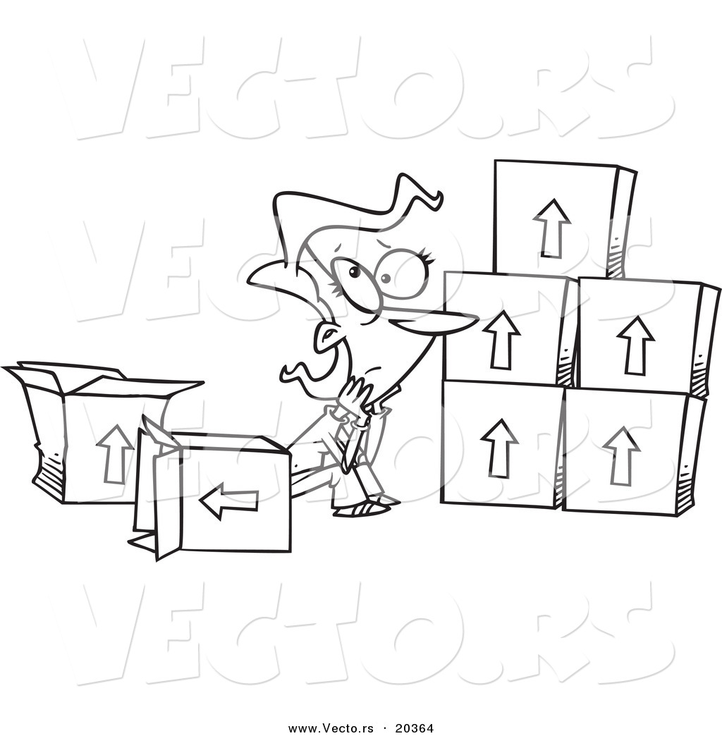 Vector of a Cartoon Sad Woman Sitting by Moving Boxes