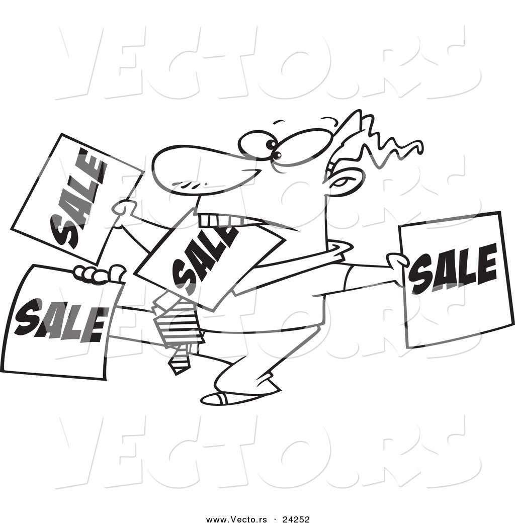 Vector Of A Cartoon Salesman Holding Up Many Signs