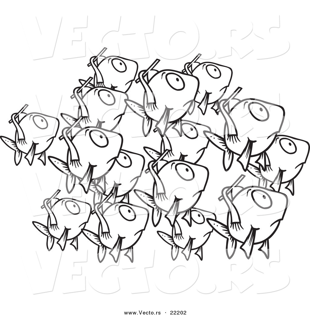 Vector Of A Cartoon School Of Fish Outlined Coloring Page By