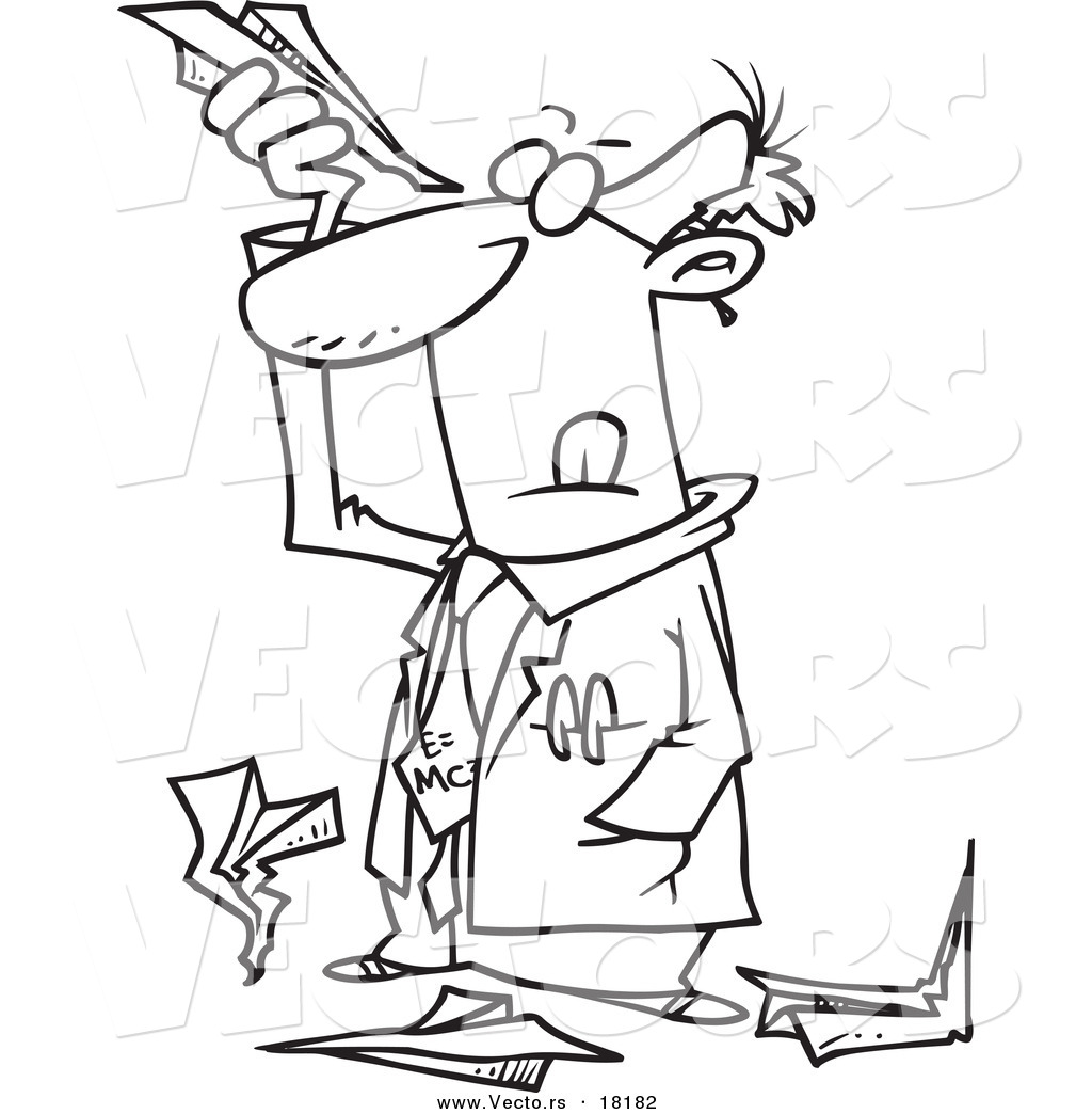 Vector of a Cartoon Scientist Researching Paper Airplanes