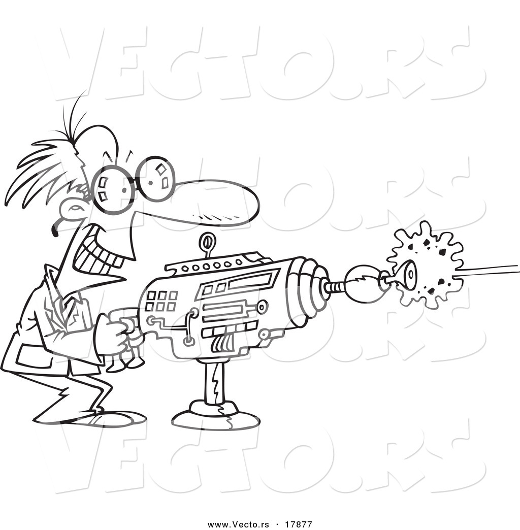 Vector Of A Cartoon Scientist Using A Laser Gun