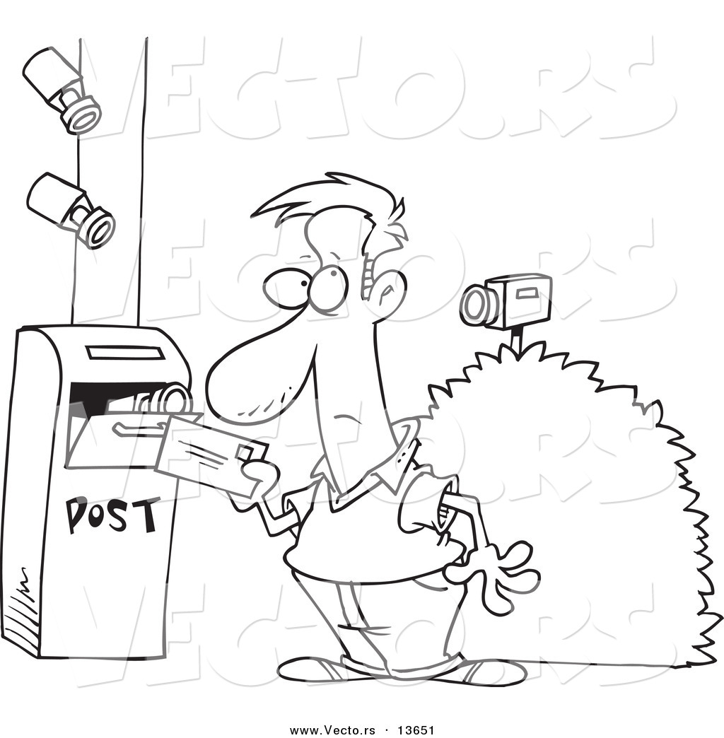 Vector Of A Cartoon Security Cameras On A Man Putting A