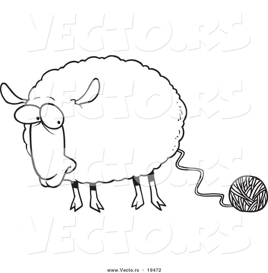 Vector Of A Cartoon Sheep Connected To Yarn