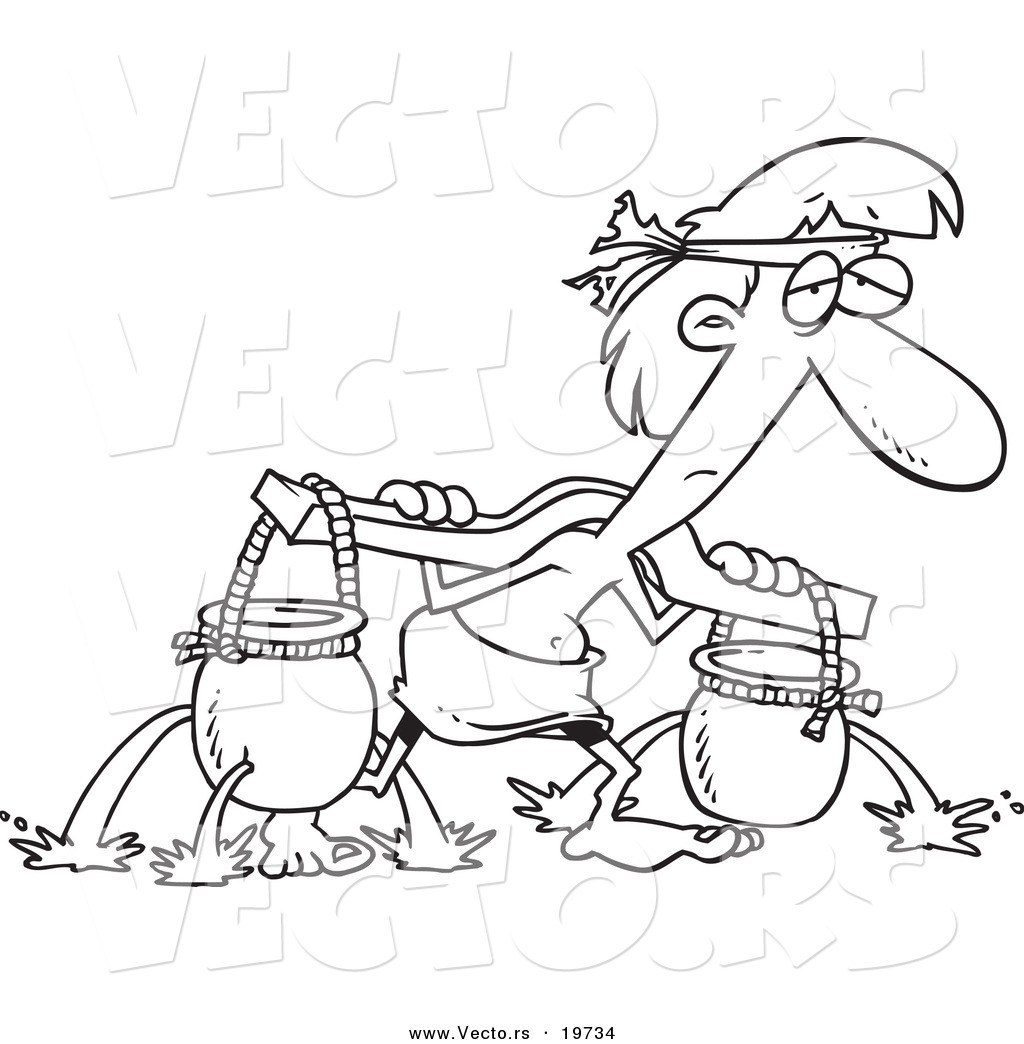 Vector of a Cartoon Slave Carrying Holy Water Pots