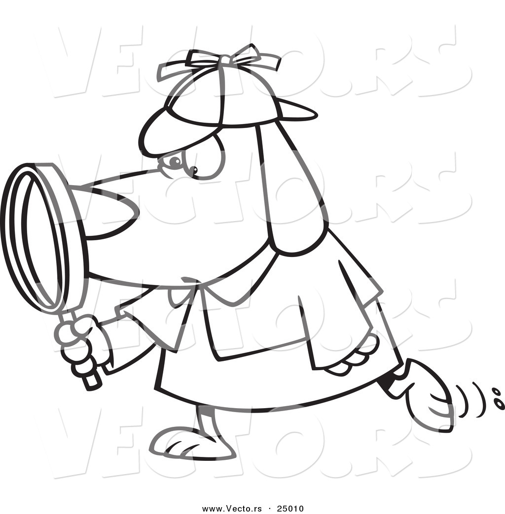Vector Of A Cartoon Sleuth Dog Using A Magnifying Glass