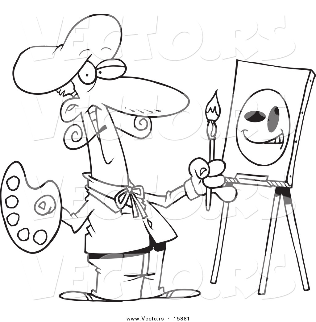 Vector Of A Cartoon Smiley Face Artist Outlined Coloring Page