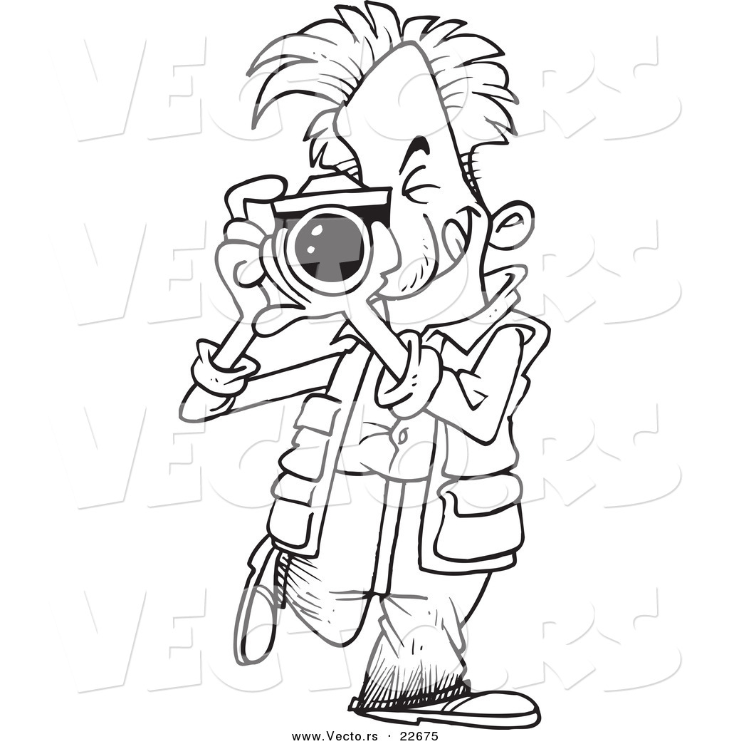 Vector Of A Cartoon Snappy Photographer