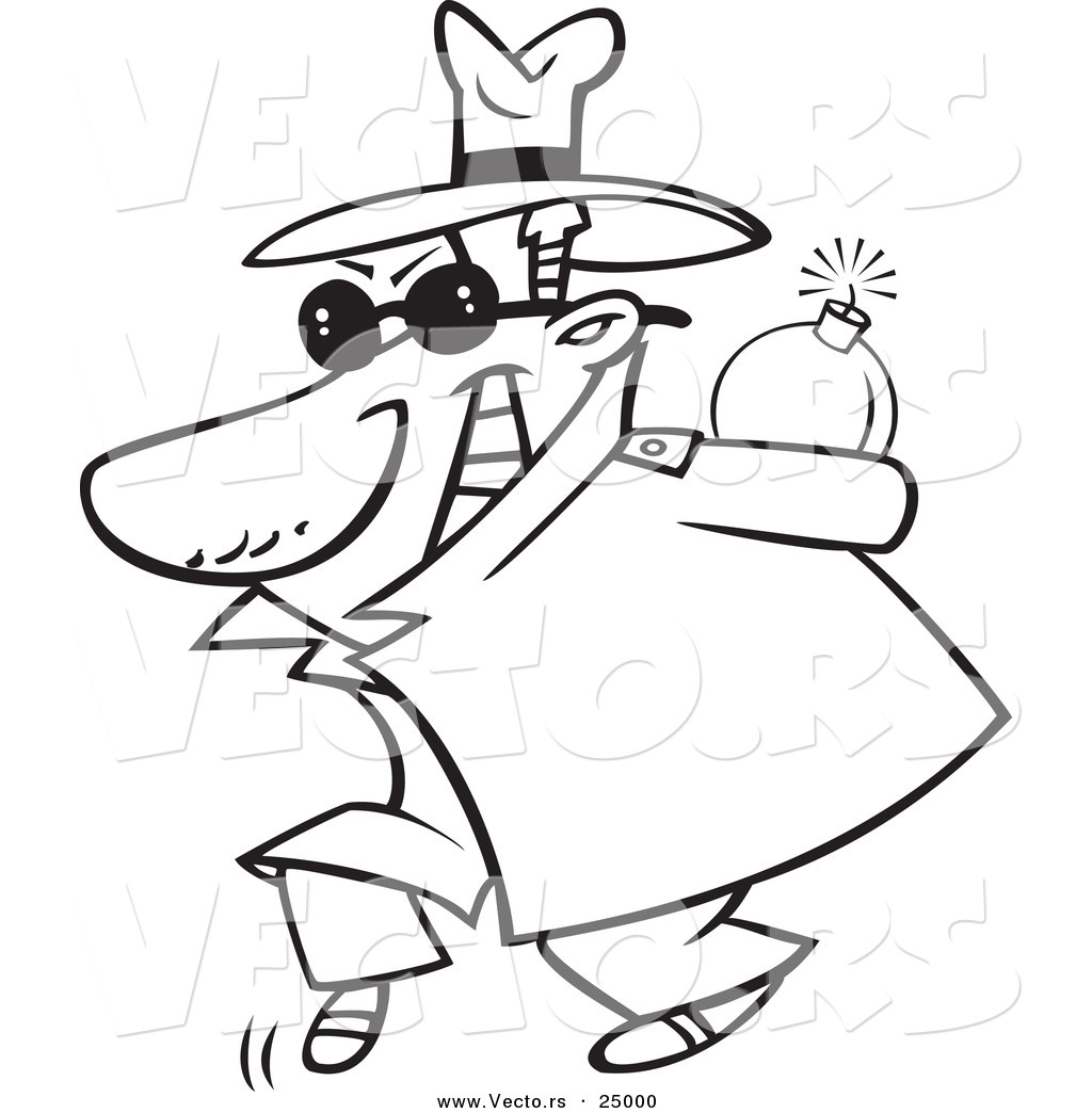 Vector of a Cartoon Sneaky Spy Carrying a Bomb Behind His