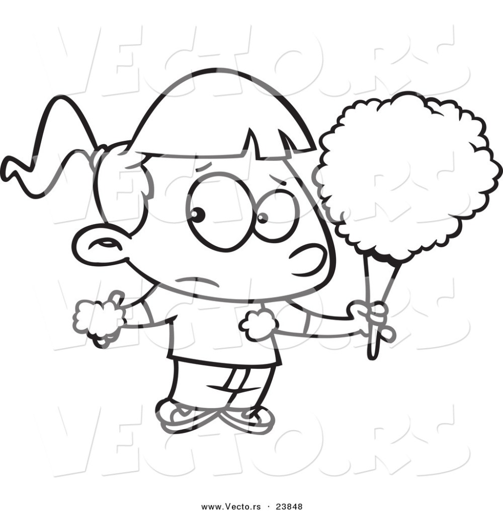 medium resolution of vector of a cartoon sticky girl eating cotton candy coloring