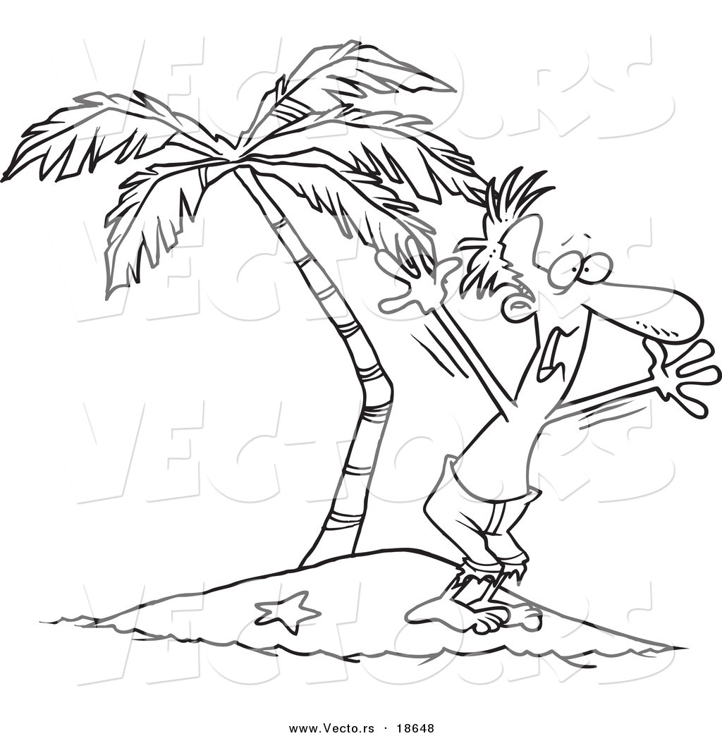 Vector Of A Cartoon Stranded Man Screaming For Help