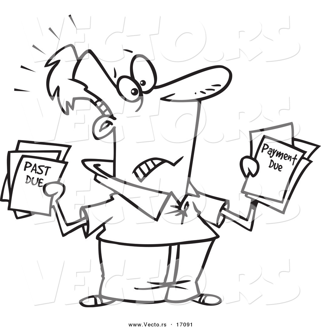Vector Of A Cartoon Stressed Man Holding Past Due Bills