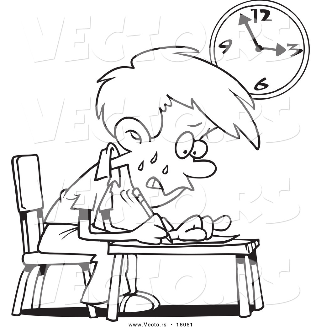 Vector of a Cartoon Stressed School Boy Taking an Exam