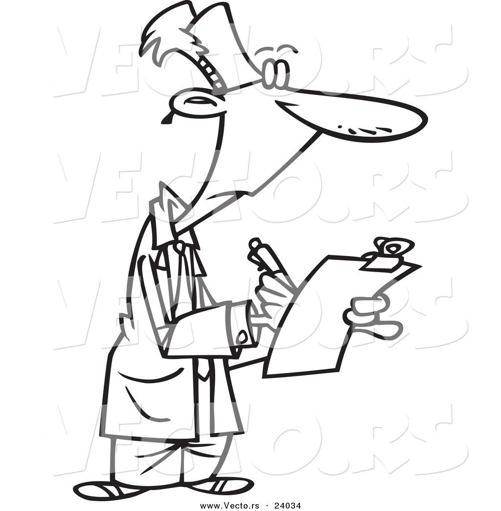 Vector of a Cartoon Supervisor Filling out a Survey