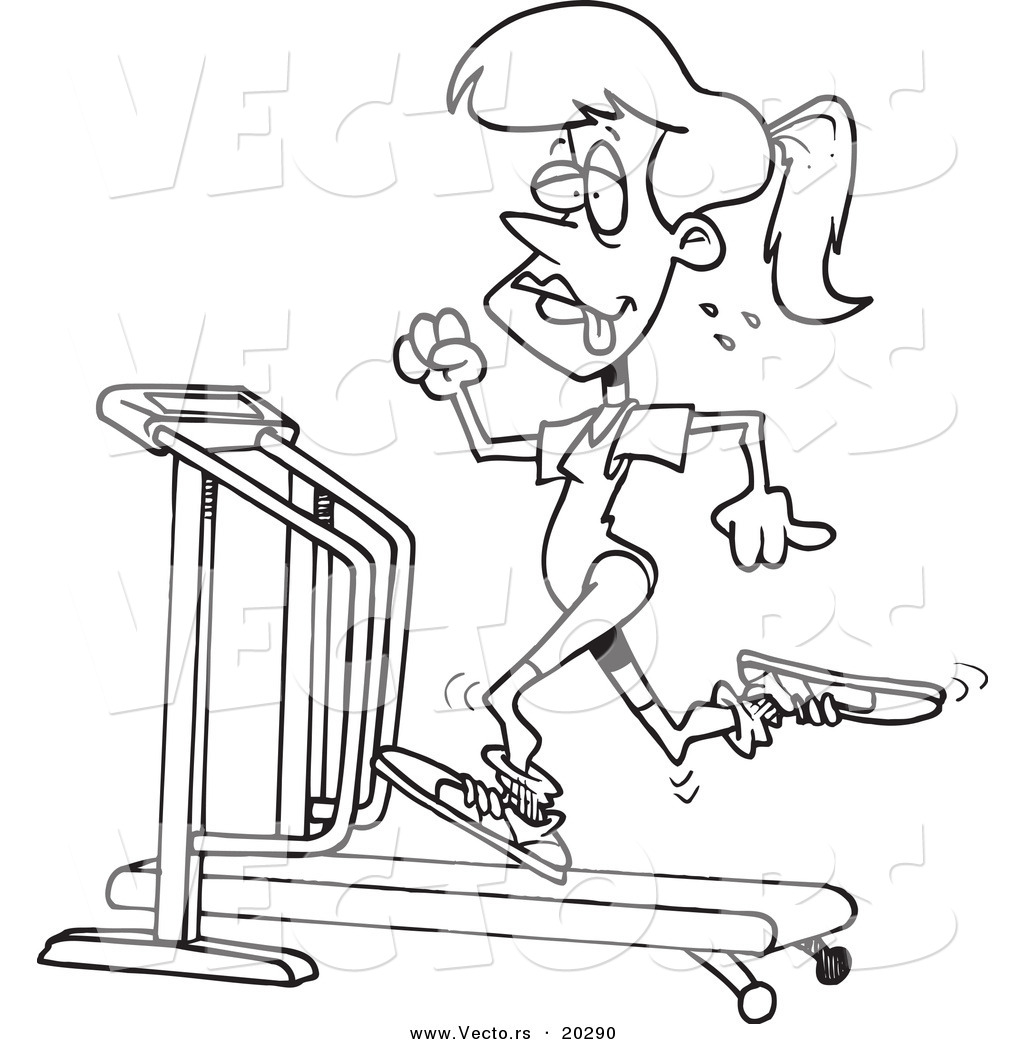 Vector of a Cartoon Sweaty Woman Running on a Treadmill