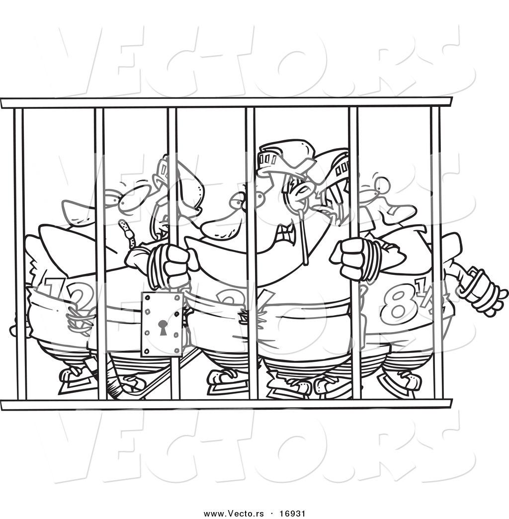 Vector of a Cartoon Team of Hockey Players Behind Bars