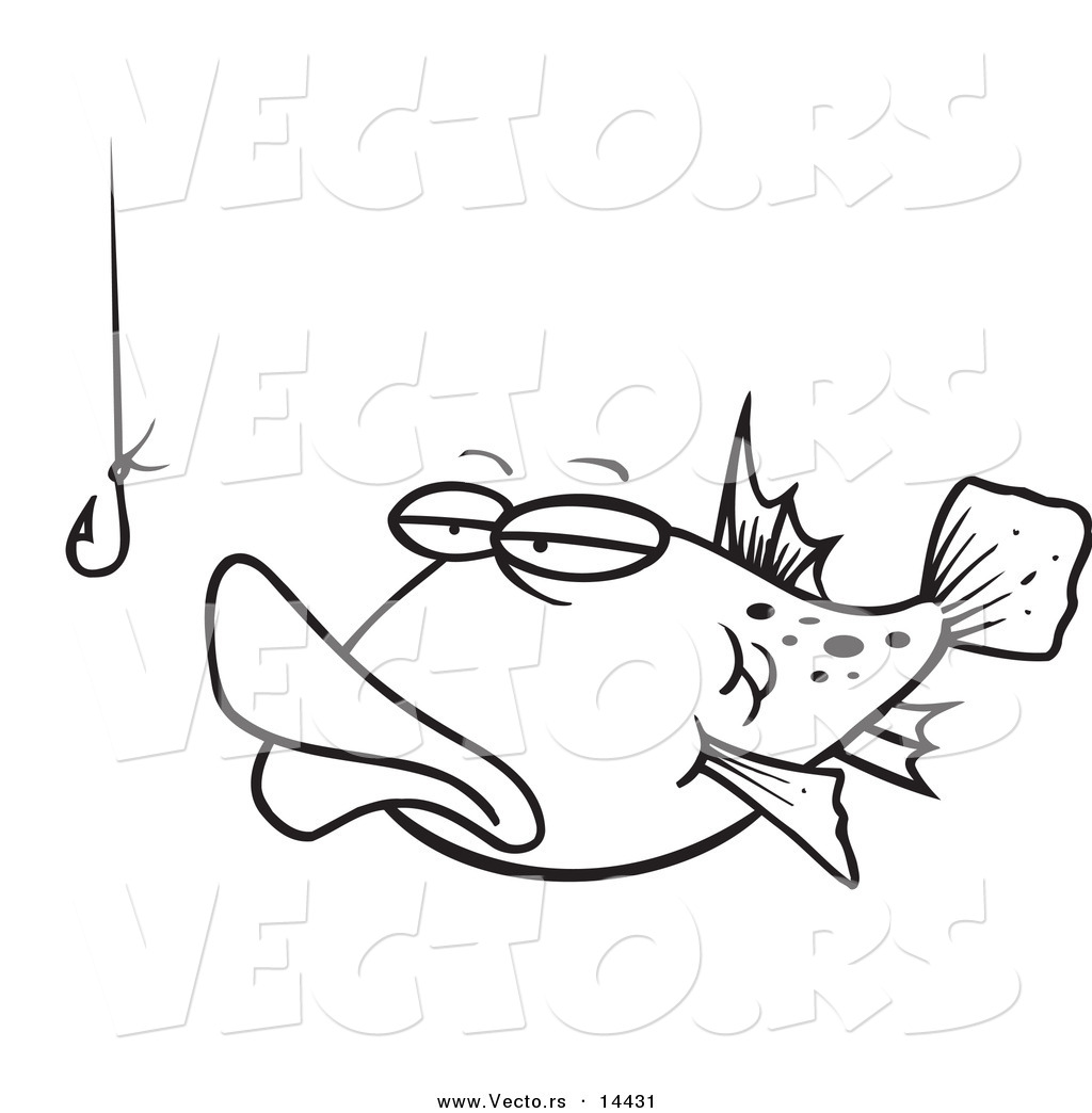 Vector of a Cartoon Tempted Fish Staring at a Hook