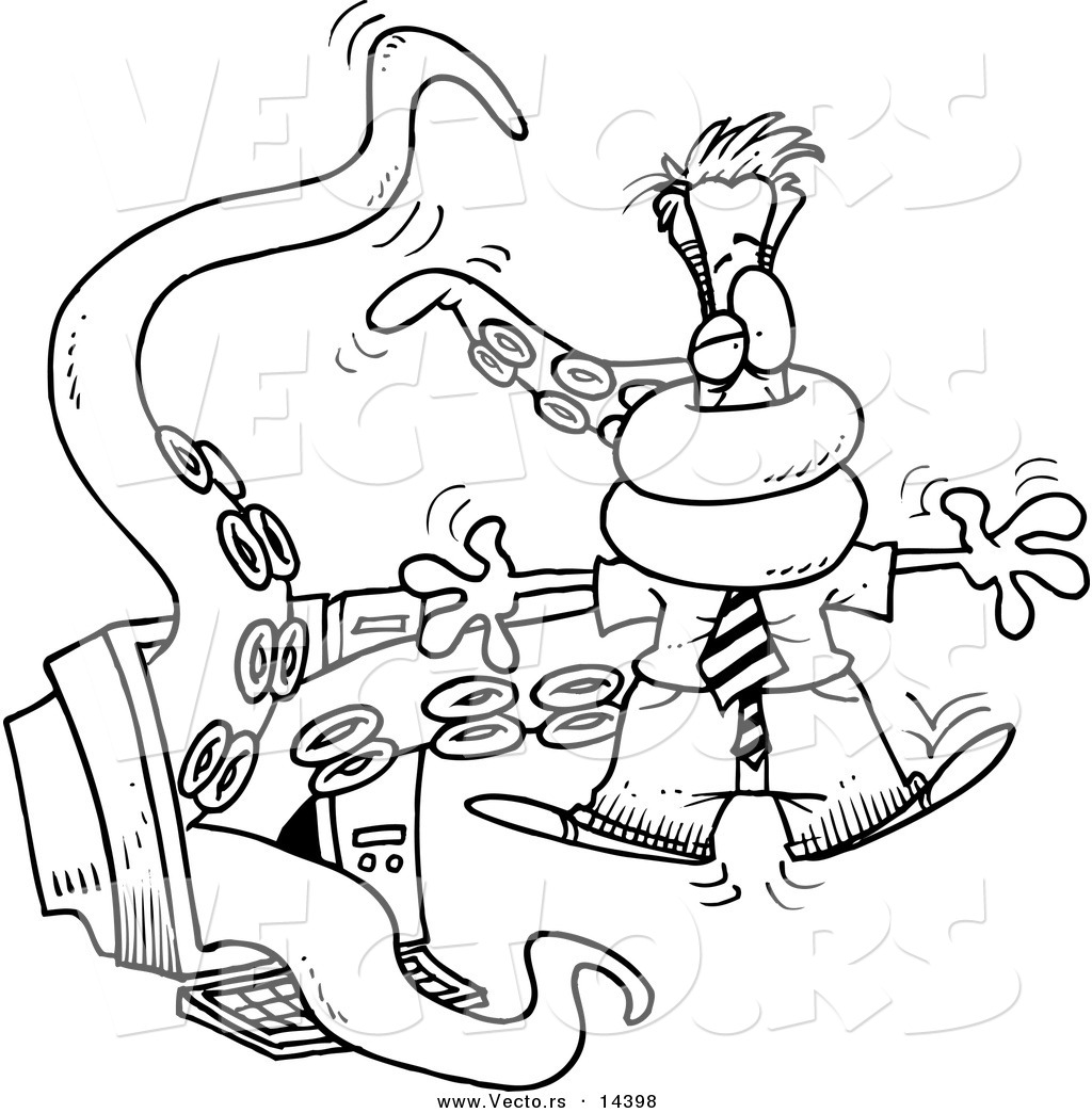 Vector of a Cartoon Tentacled Monster Attacking a Man