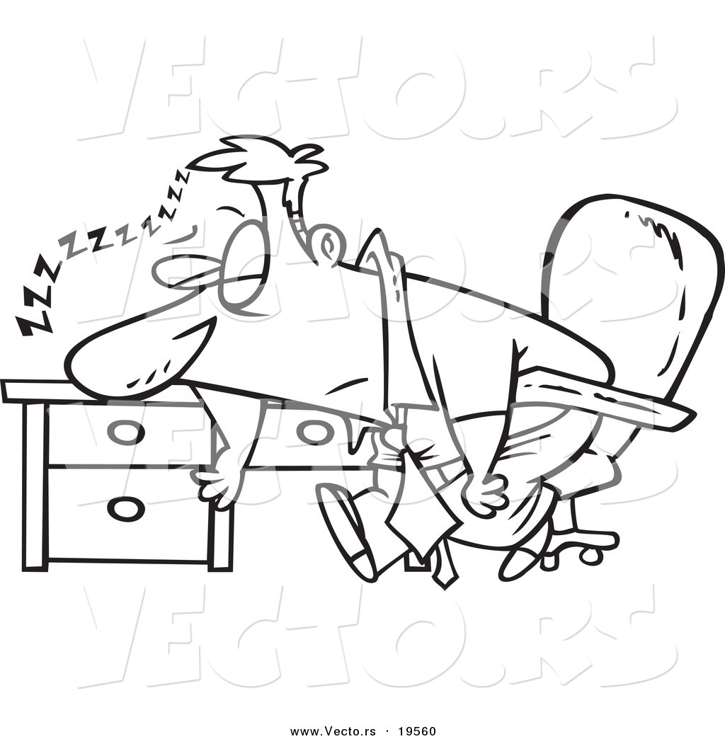 Vector Of A Cartoon Tired Businessman Sleeping On His Desk