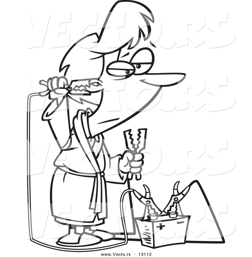 Vector of a Cartoon Tired Woman Trying to Recharge with a