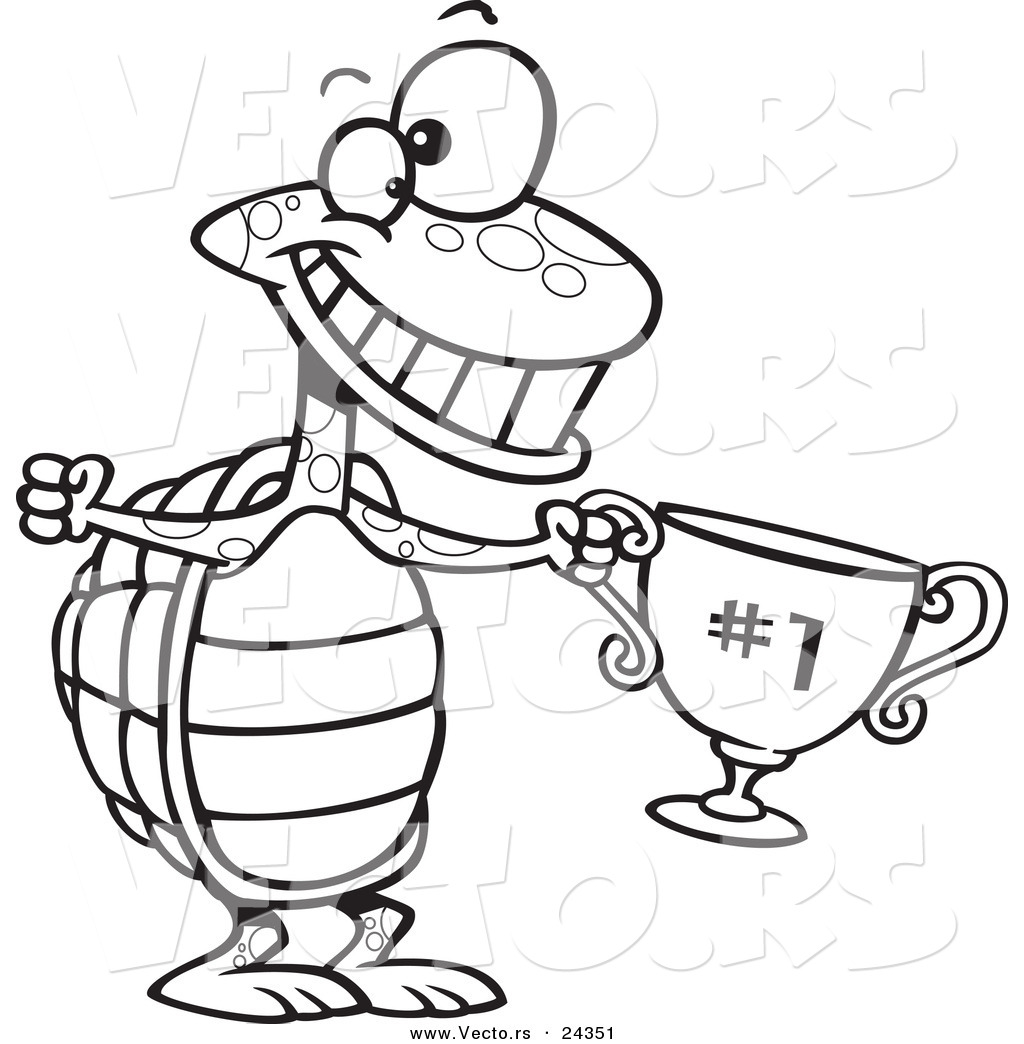 Vector Of A Cartoon Tortoise Champ With A Trophy