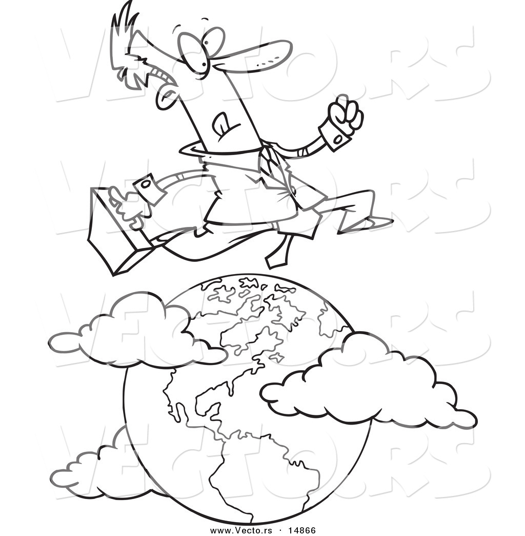Vector of a Cartoon Traveling Salesman Leaping over the