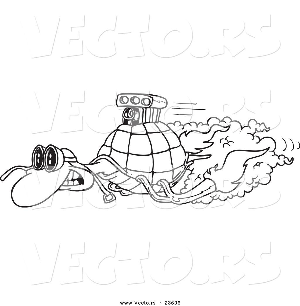 Vector Of A Cartoon Turbo Tortoise